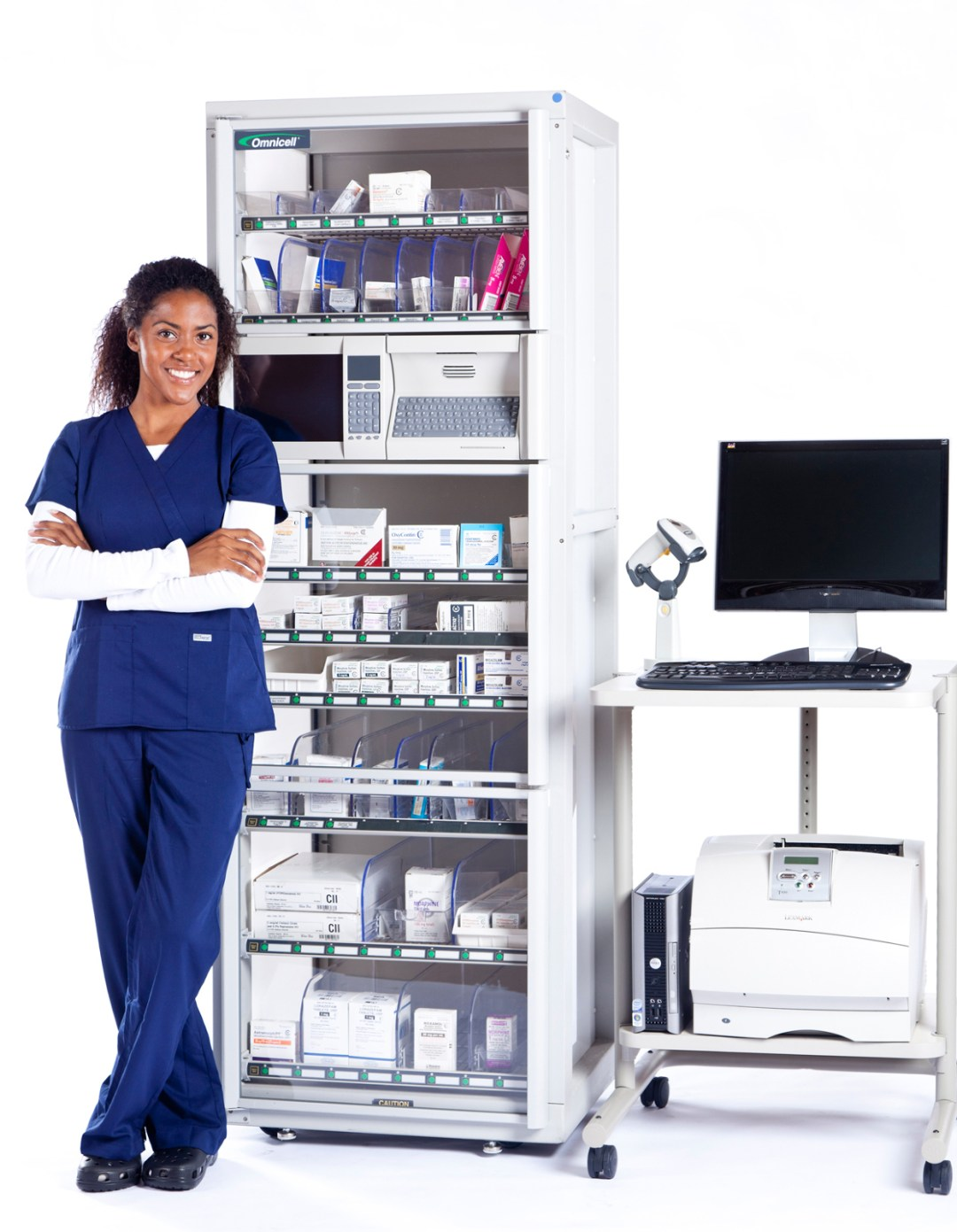 Product shot of medication dispenser with smiling nurse