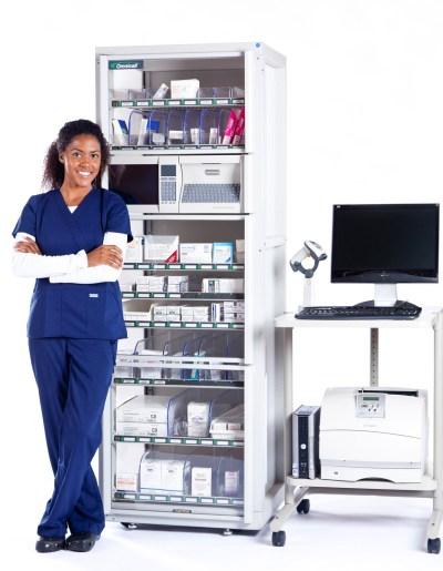 Product shot of medication dispenser with smiling nurse