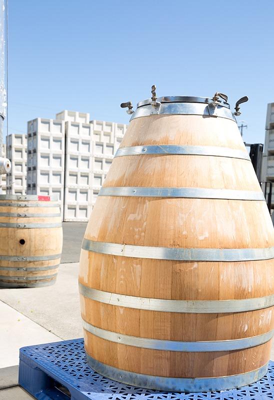 Wine barrel at grape crush