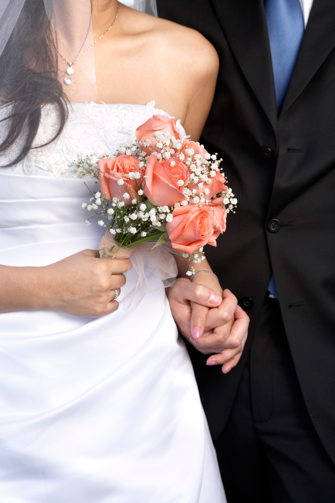 close-up of wedding bouquet held by bride