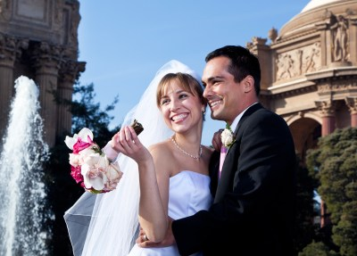 Happy bride and groom at Palace of Fine Arts