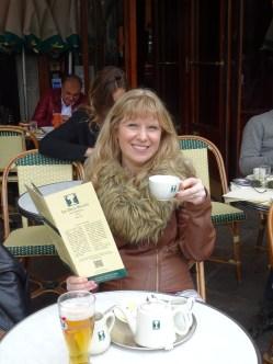 Enjoying a tea at Les Deux Magots, Paris. Hangout of Sartre and de Beauvoir