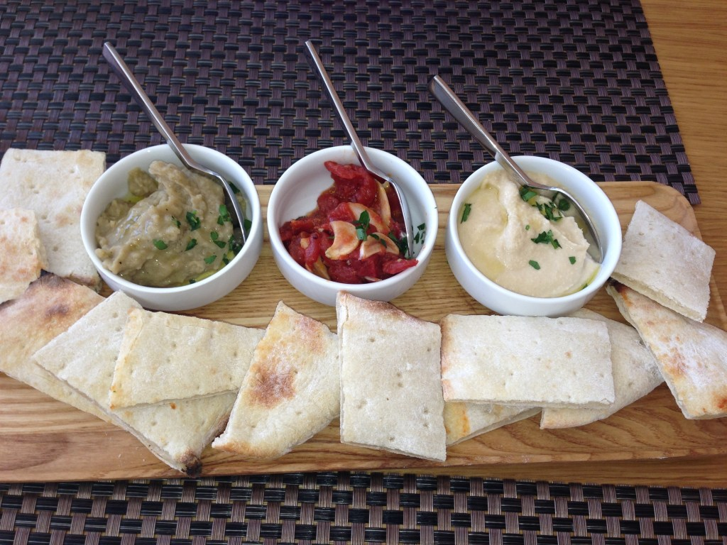 Savor - Skinny DipsHouse made Hummus, Melted Tomato and Basil, Roasted Eggplant with Mint, Fresh Flatbread