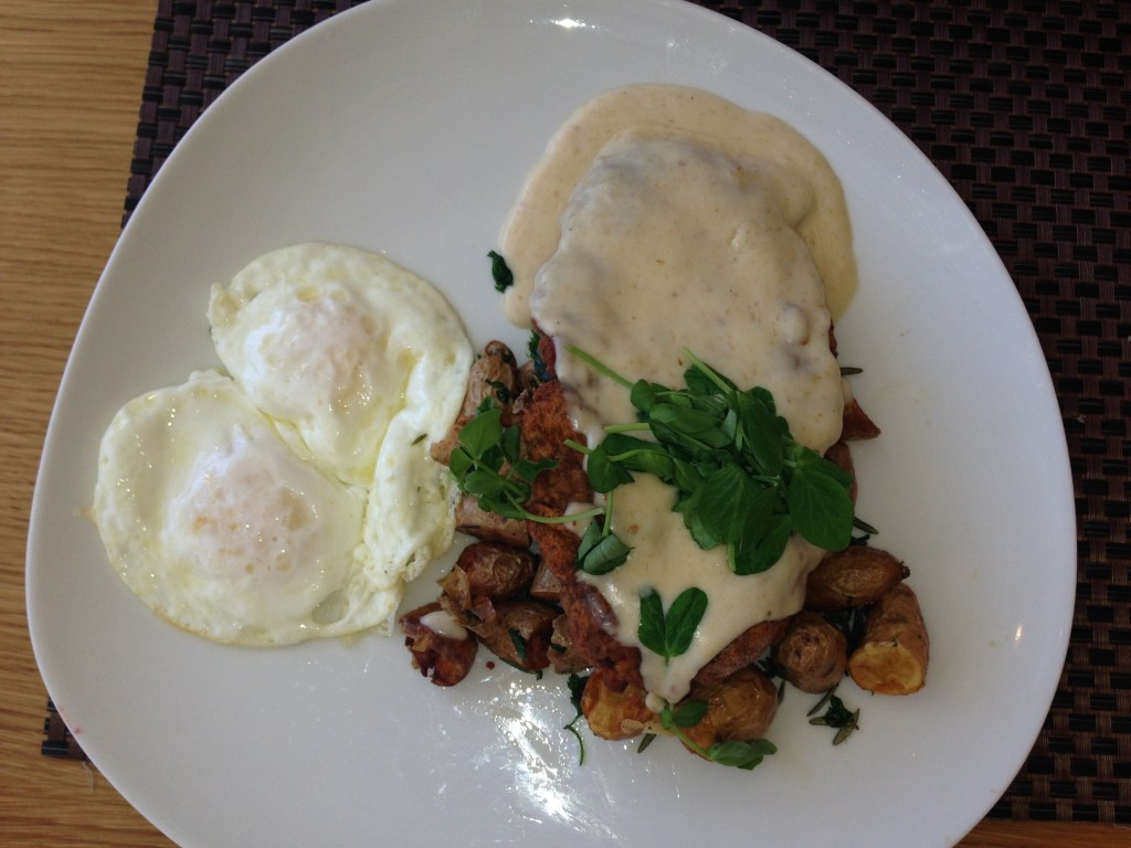 Savor - Chicken Fried SteakBacon and Maple Gravy, Crispy Fingerling, Over-Easy Eggs