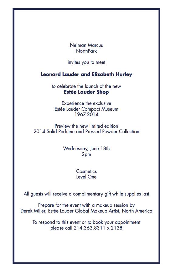 Neiman Marcus invitation - Elizabeth Hurley