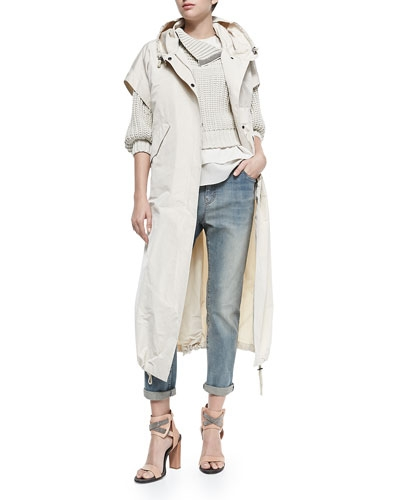 Brunello Cucinelli Layered Silk Crepe Tank & Elbow-Sleeve Sweater