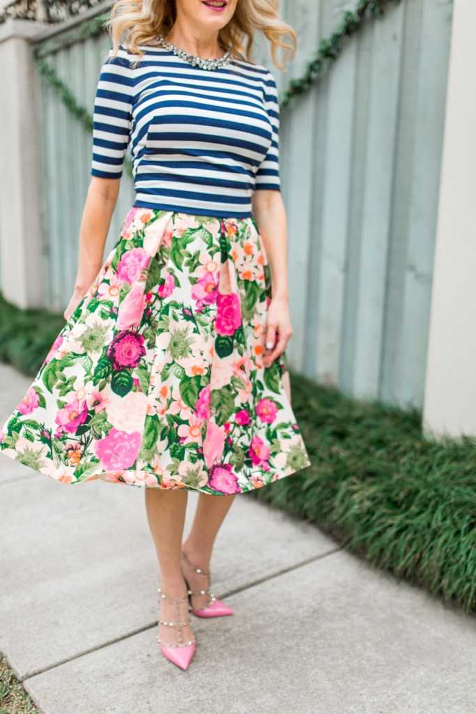 Eliza J floral skirt and stripe shirt, tanya foster, tanyafoster.com