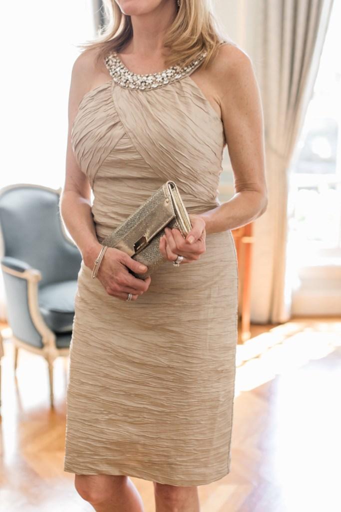 Eliza J dress, beige, tanya foster, tanyafoster.com