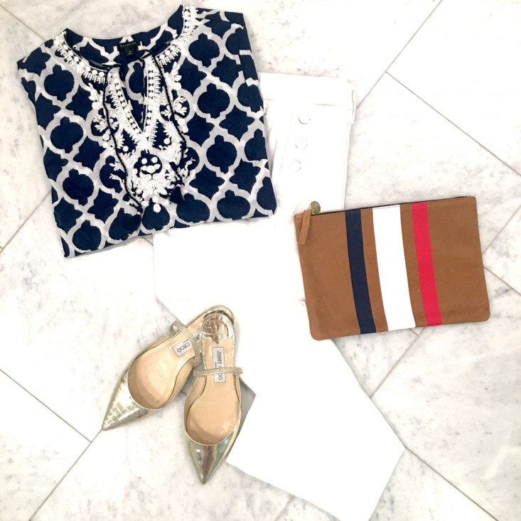 Talbots blue tunic, Talbots white sailor crop jeans, Claire V clutch bag, Jimmy Choo gold flats