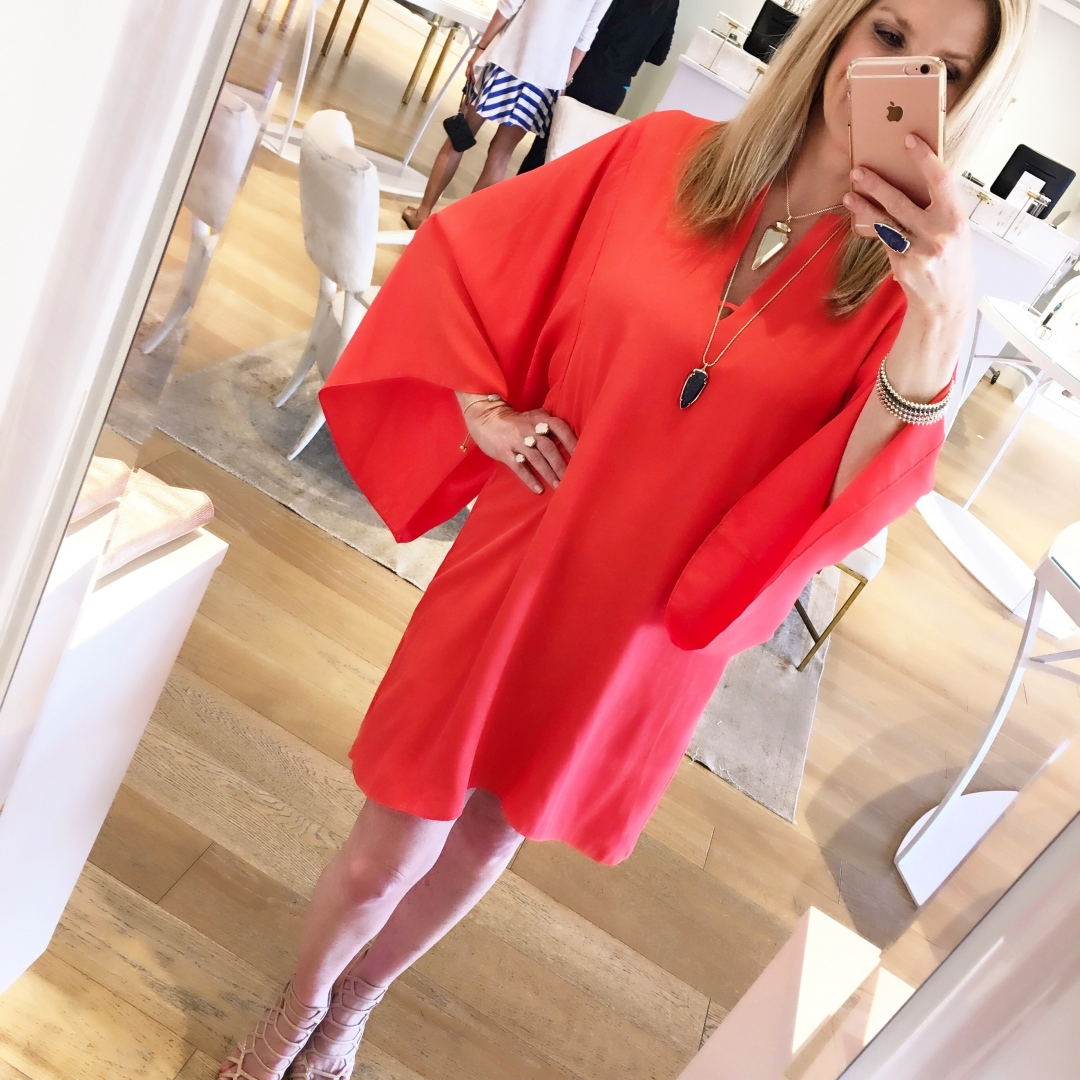 Elaine Turner dress, orange, nude heels, Kendra scott jewelry