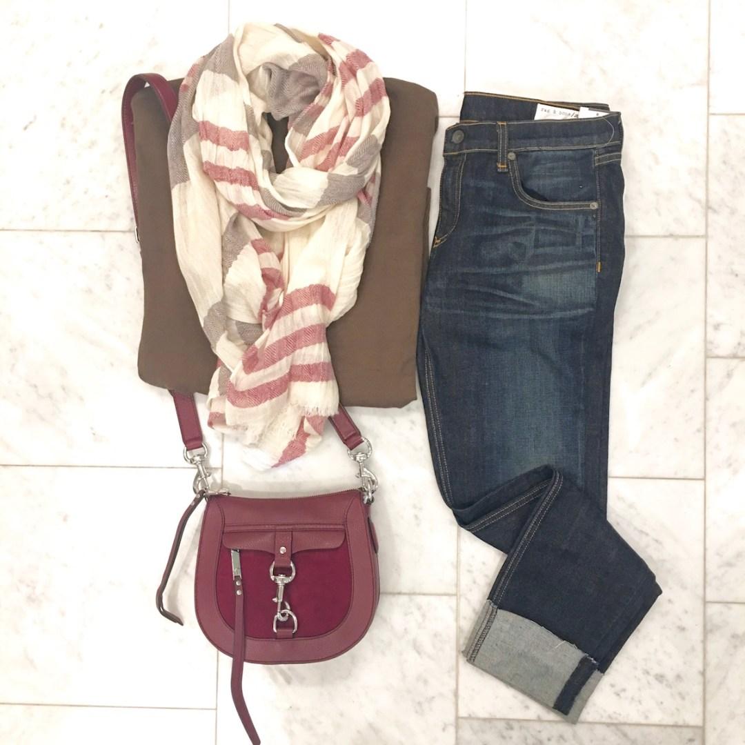 Rag and Bone jeans, Rebecca Minkoff bag, scarf, olive green sweater,Nordstrom Anniversary Sale 2016
