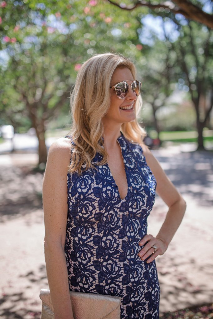 blue lace dress, Alice and Olivia dress, Nordstrom Anniversary Sale, Tanya Foster