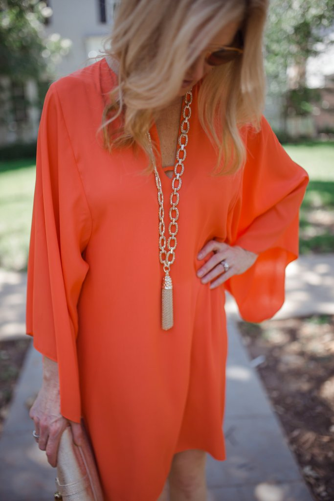 Elaine Turner Laney dress, orange dress, on sale, Elaine Turner stores and online, 70% off