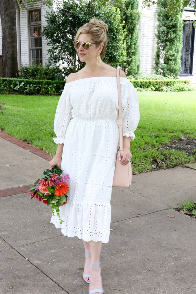 chicwish white dress, off the shoulder dress, white eyelet lace dress, blue Schutz shoes, nude Vince handbag, Dallas Fashion blogger