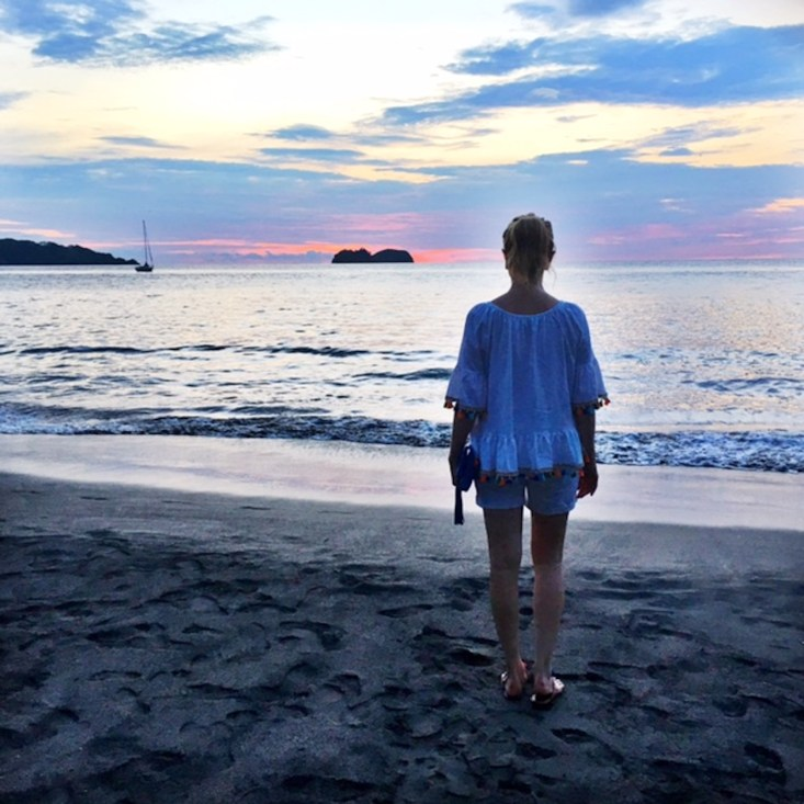 sunset in Costa Rica, chicwish top, off the shoulder, beach, travel, Fashion blogger