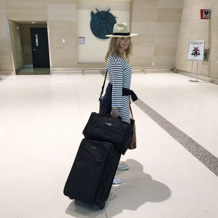 travel style, airport, stripped dress, Tumi luggage, Tanya Foster