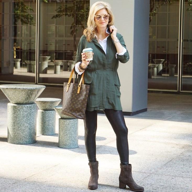 NYC travel style, ST. Bernard, BB Dakota olive jacket, Spanx faux leather leggings, brown boots, LV bag, Tanya Foster