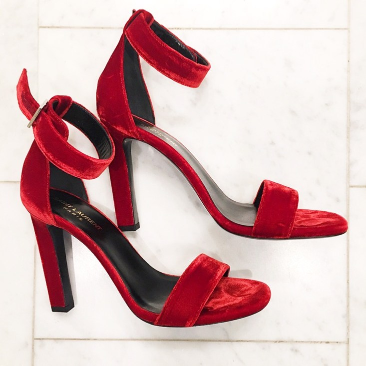 YSL red velvet heels on TanyaFoster.com