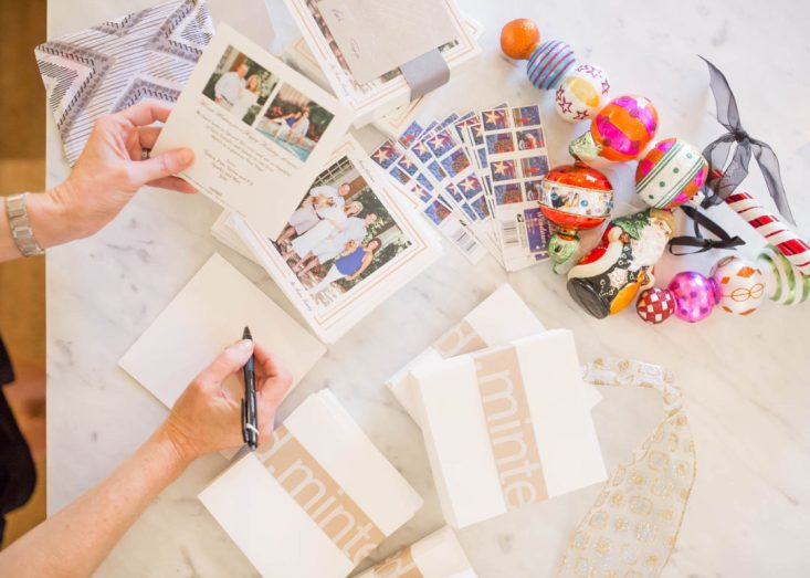 Tanya Foster designs her holiday cards with Minted.