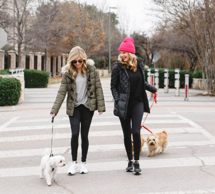 Tanya Foster and Brooke Burnett winterize their workout and include their dogs. Workout gear from Nordstrom.