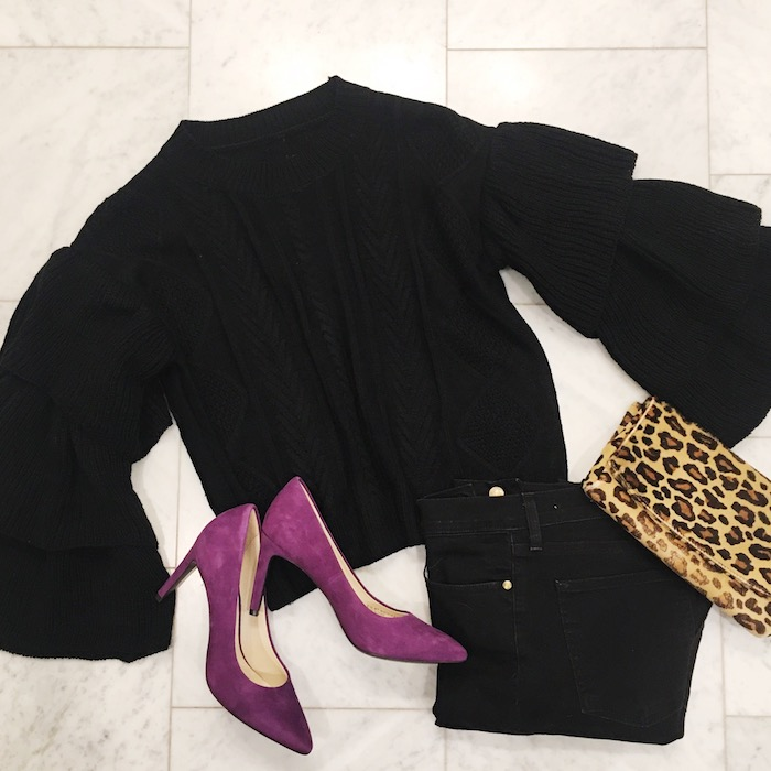 Black bell sleeve sweater with Cole Haan pumps