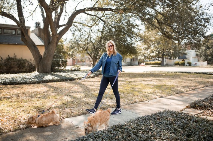 Outdoor Voices leggings, tank and jacket are perfect for walking the dogs as well as working out.