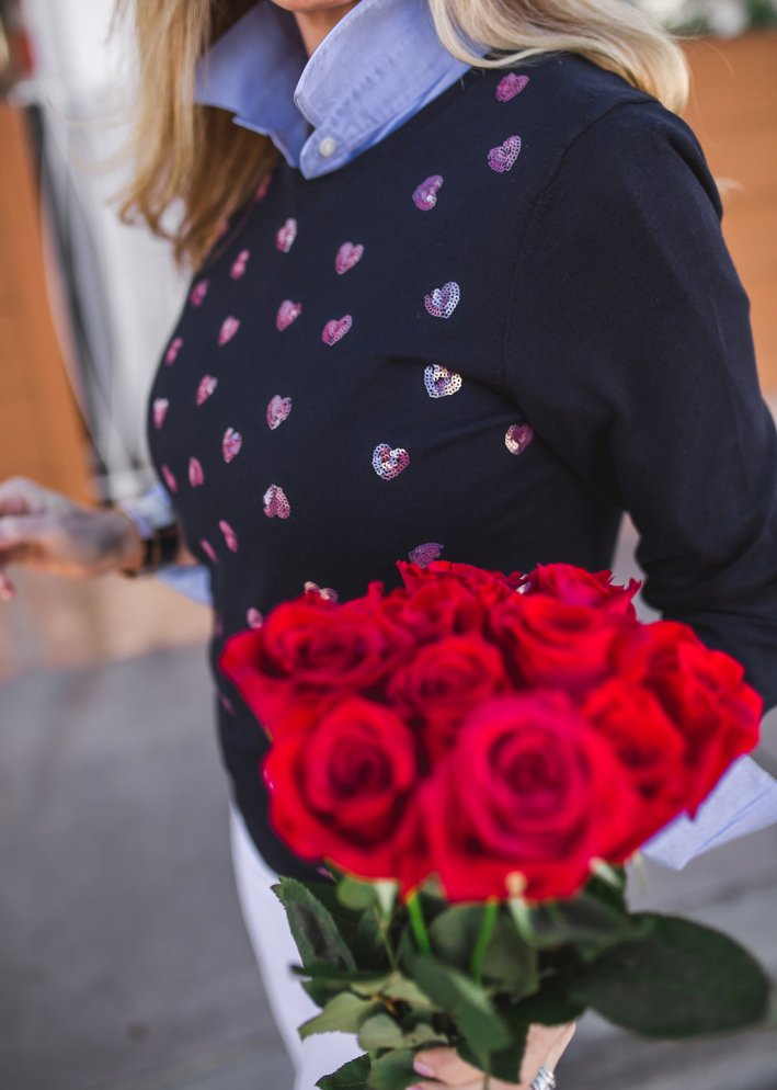 Talbots heart sweater and 5 pocket white denim for a casual Valentine's look.