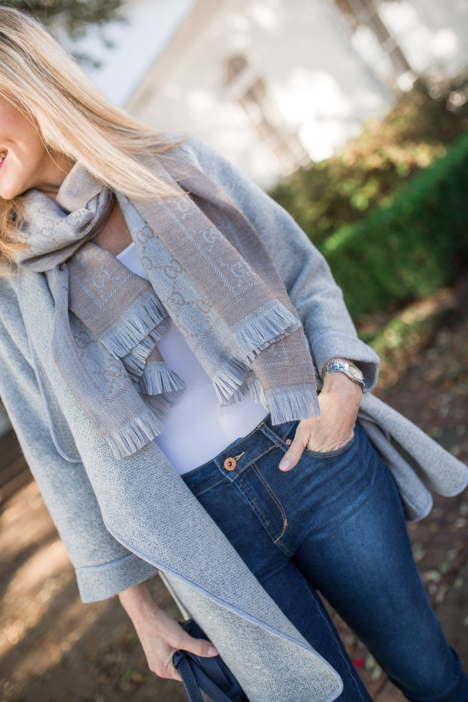 Dressing up a casual Chicwish gray sweater with Cole Haan suede heels