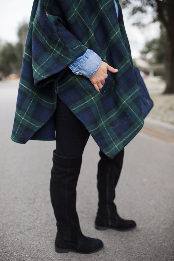 Loving the idea of having something plaid on like this tartan cape with jeans and over the knee boots.