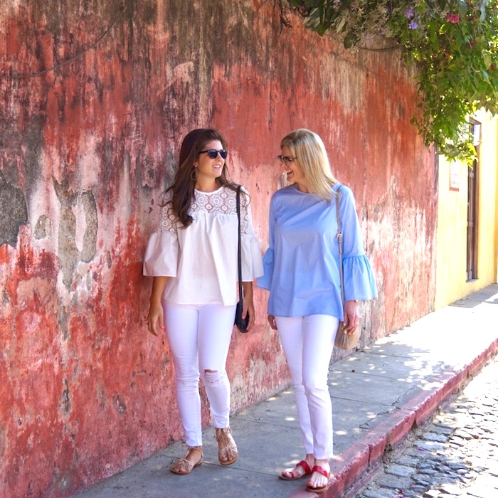 Tanya and Taylor Foster both wear bell sleeves in Antigua, Guatemala
