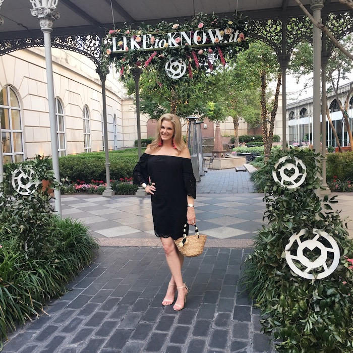 Wearing Madewell off the shoulder black dress at rewardStyle pool party