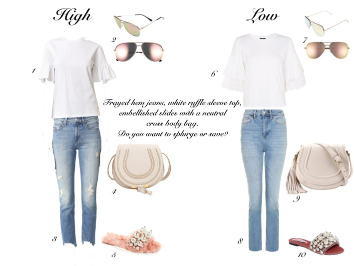 Frayed denim, white top with ruffled sleeves and embellished slides.
