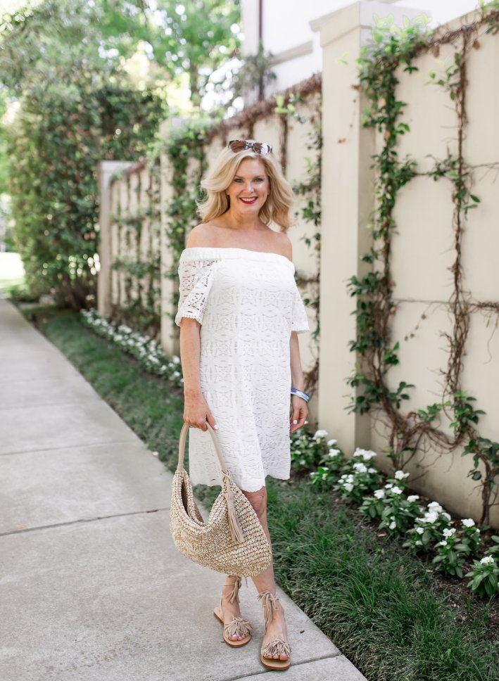 43c30facb97 A lace little white dress from Chico s for summer.