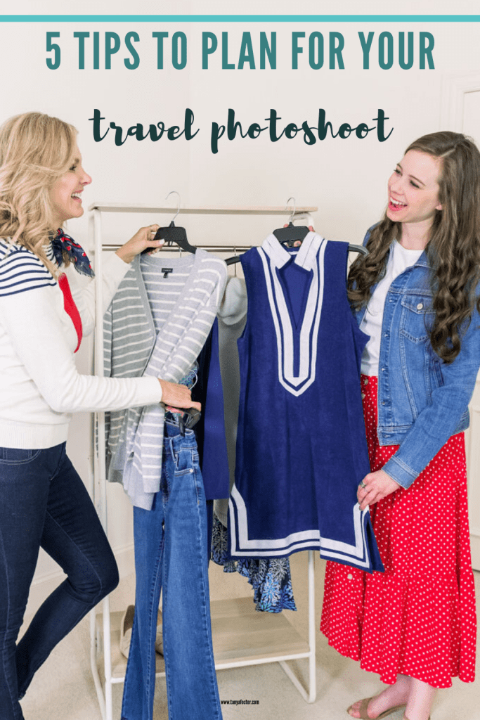 Tanya Foster and assistant picking out clothes for a travel photoshoot