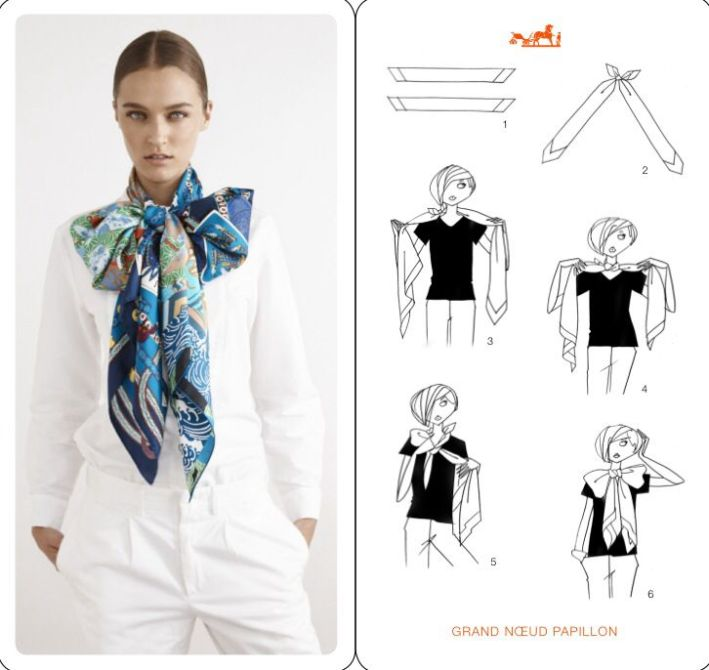 How to tie a Hermes scarf - large bow tie