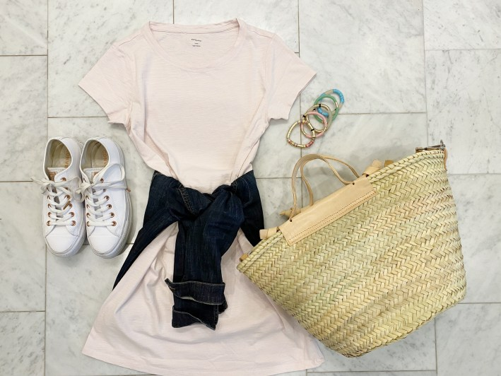 amazon tshirt dress with converse sneakers bracelets mango straw bag and jean jacket