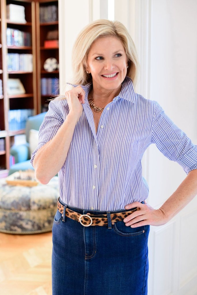 tanya foster in a talbots classic cotton striped shirt a denim skirt and a leopard belt