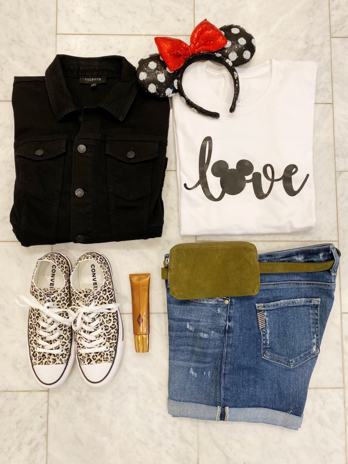 Disney love tee with paige denim short minnie ears converse leopard shoes talbots black jean jacket a fanny pack and colleen rothschild product