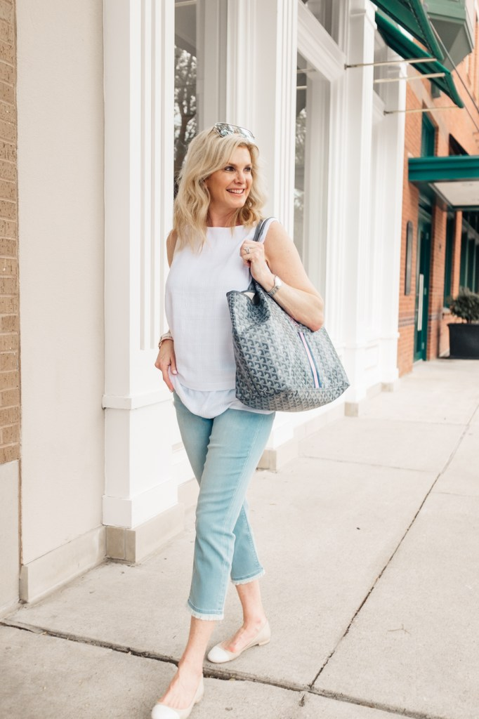 J. Jill layered crinkle cotton top and fringe slim leg crop pants with Taryn Rose flats