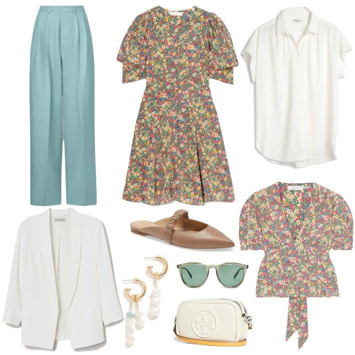 floral print white and blue fashion edit