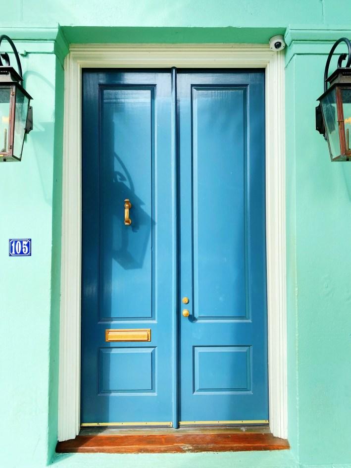 Blue doors on Rainbow Row in Charleston, South Carolina