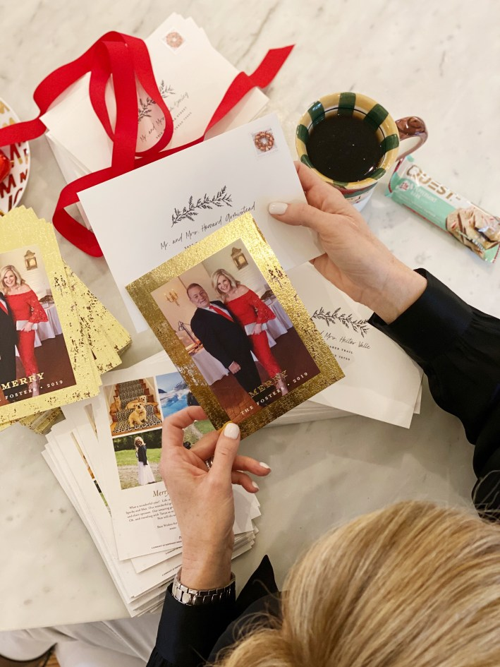 Tanya Foster shows off her Christmas card from Minted