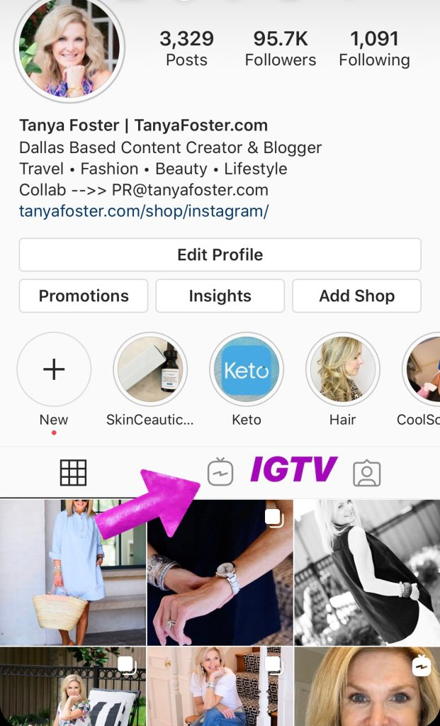 Image of Tanya Foster Instagram home page