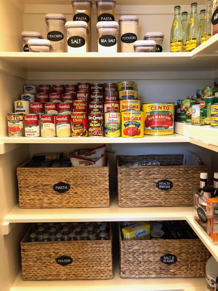Pantry organization with items from The Container Store