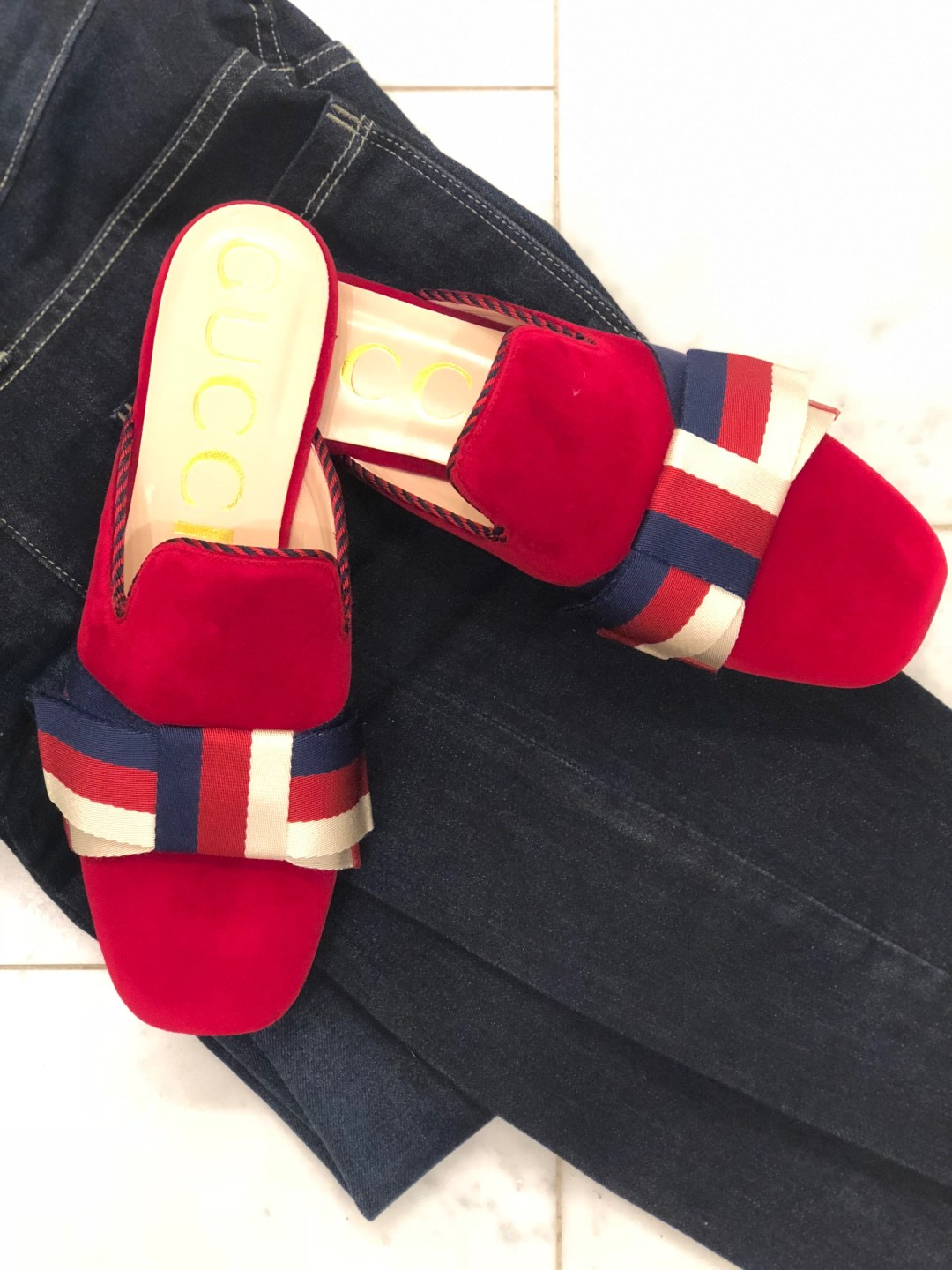 Velvet Gucci Slippers on tanyafosterblog Instagram