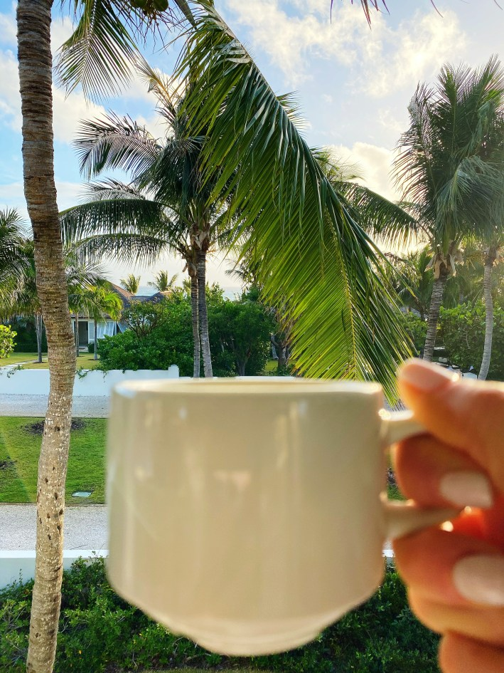 The Dunmore Resort and Harbour Island, Bahamas morning coffee