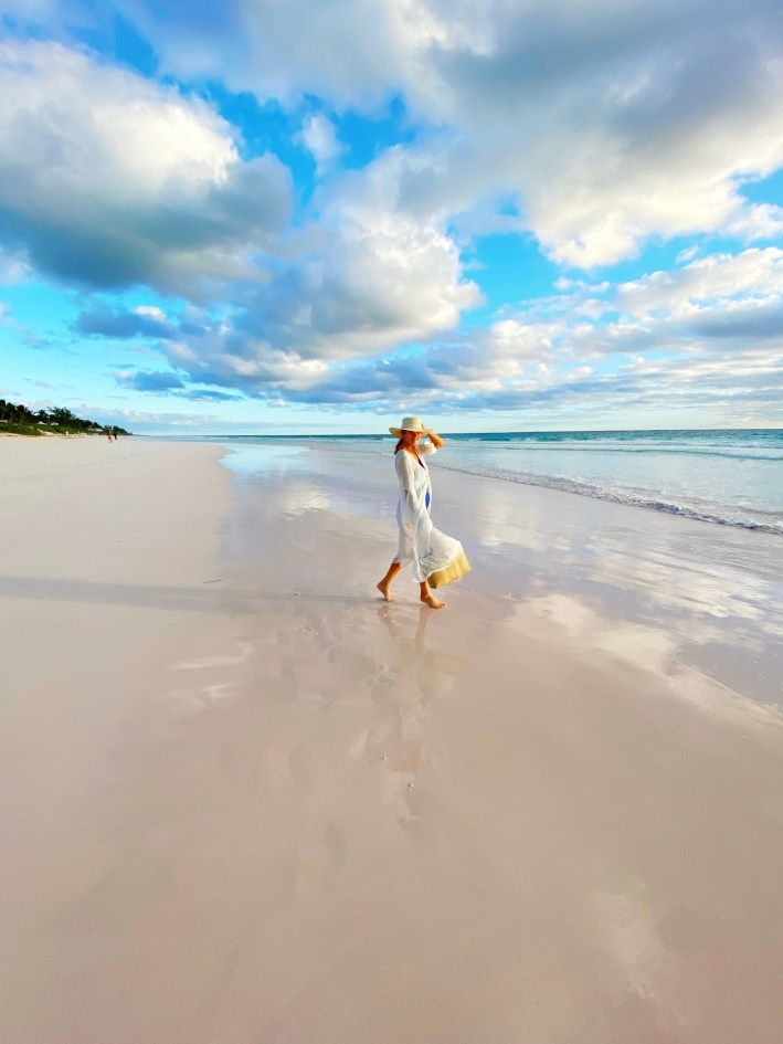 Tanya Foster at the beach - The Dunmore Resort and Harbour Island, Bahamas