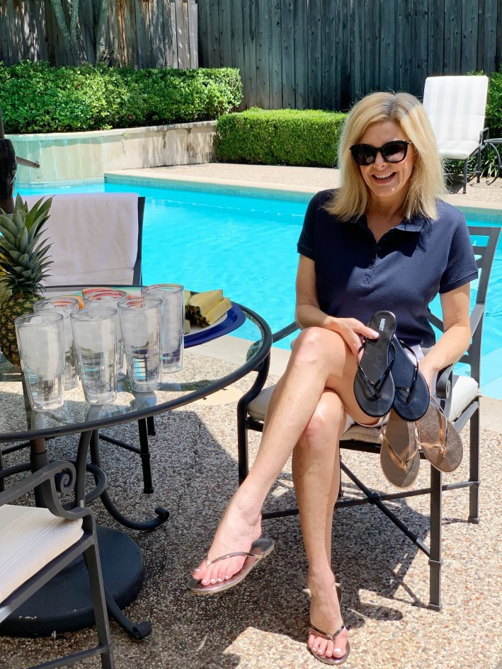 Poolside entertaining made easy! Love these Mixit flip flops that come in 3 colors!
