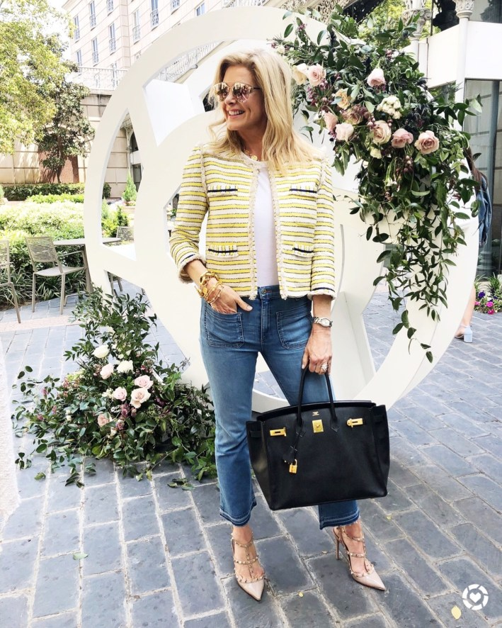 rewardStyle conference 2018, yellow tweed jacket, white top, crop jeans from Veronica Beard