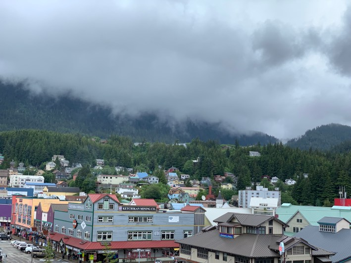 Top 10 Reasons to Book a Disney Cruise to Alaska featured by top US travel blogger, Tanya Foster: image of Ketchikan, Alaska with the Disney Wonder